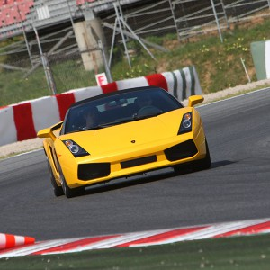 Lamborghini Gallardo Driving in Montmeló Nacional 3km (Barcelona) - 2 laps (passes finish line)