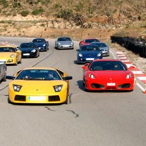 Ferrari and Lamborghini Highway Driving in La Palma del Condado (Huelva)
