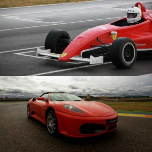 Ferrari + Fórmula 2.0 en circuito en Brunete 1,6km (Madrid) - 6 vueltas (4 Ferrari + 2 Fórmula)
