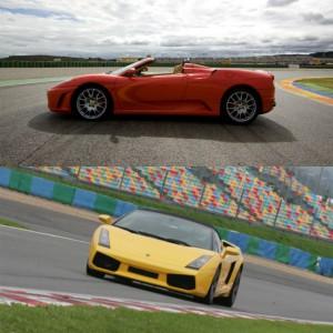 Ferrari + Lamborghini en circuito en Montmeló Nacional 3km (Barcelona) - 2 vueltas (1 por coche)