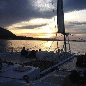 Puesta de sol en barco en Calpe (Alicante)