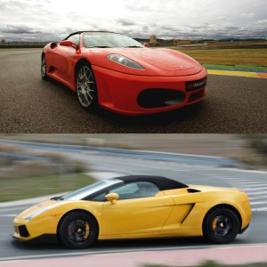 Ferrari circuito + Lamborghini carretera en Monteblanco 2,7km (Huelva)