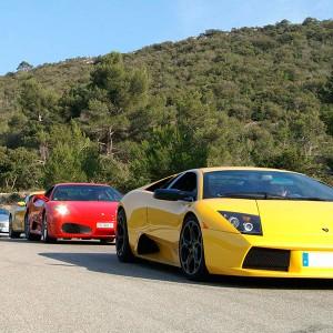 Ferrari + Lamborghini en carretera en Brunete (Madrid)
