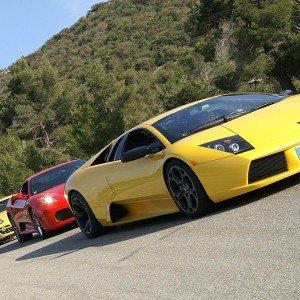 Ferrari + Lamborghini en carretera en Calafat (Tarragona)
