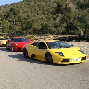 Ferrari + Lamborghini en carretera en Campillos (Málaga)