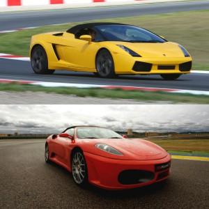Ferrari + Lamborghini en circuito en Monteblanco 2,7km (Huelva)