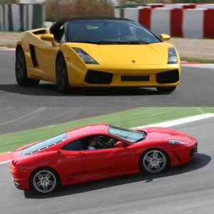 Lamborghini circuito + Ferrari carretera en Calafat 2,6km (Tarragona)