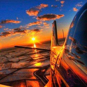 Puesta de sol en avioneta en Igualada (Barcelona)